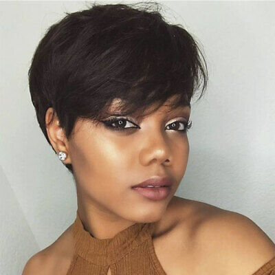 Pixie Cut Short Wigs UK Women Ladies 100% Real Remy Human Hair Wig Black Brown