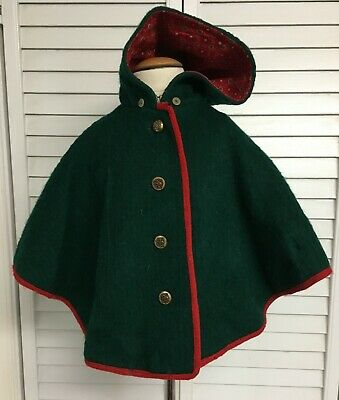 Vintage Girls Toddlers Tagged REINE WOLLE Lined Green Wool Poncho Coat Jacket