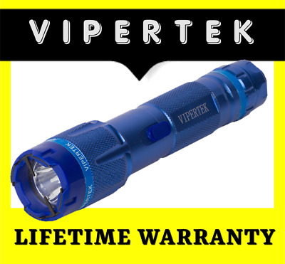 VIPERTEK Stun Gun Self Defense 160 Billion Volt Rechargeable Metal Blue