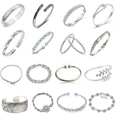 Women Jewelry Bangle Charm 925 Sterling Solid Silver Crystal Cuff Chain Bracelet