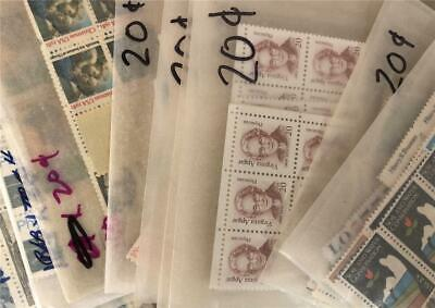 US Stamps Postage 100 Mint 20 Cent Stamps $20.00 Face Value DISCOUNT
