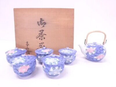 4399314: Japanese Porcelain Tea Pot & Cup Set / Iro-E Flower / Artisan Work