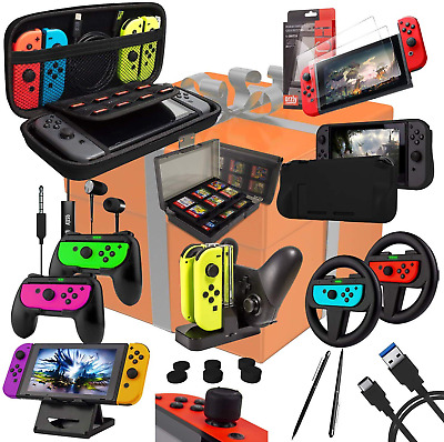 Switch Accessories Bundle - Orzly Geek Pack for Nintendo Switch: Case & Screen &