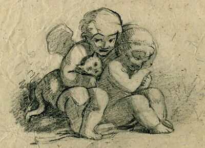 19th century Vintage Old Pencil Drawing - Dessin Ancien - Angels, Kids, Cat