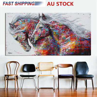 Unframed 75*150cm Colourful Running Horse Canvas Print Painting Home Decor Xmas