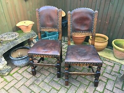 antique pair of carved oak high back dining chairs circa 1900