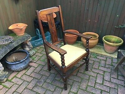 antique arts and craft circa 1910 oak high back arm chair with turned supports