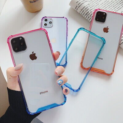 For iPhone 11 Pro Max XS XR 8 7 Plus Colorful Bumper Clear Hard Thin Cover Case