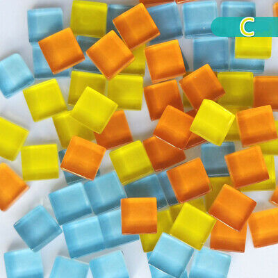 300X Glass Mosaic Tiles Square Clear Mixed Color DIY Creativity Craft Home Decor