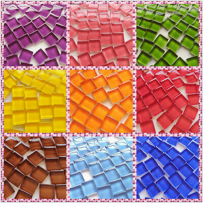 Creative 300 X Square Glass Mosaic Tiles Solid Clear for DIY Crafts Home Decor