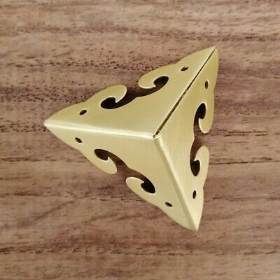 4 X Corner Angle Protectors Brace Brass Wrap Retro for Wooden Trunk Chest New