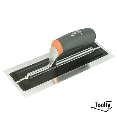 """Toolty, Flexible Plaster Finishing Stainless Steel Trowel Soft Grip Handle 11"""""""