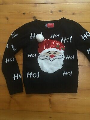 Girls Black Father Christmas Sequin Ho Ho Ho Jumper  9-10 Years