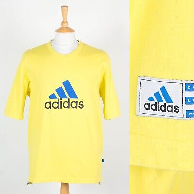 Vintage Adidas Neon Yellow T-Shirt 90'S Corporate Logo Line Equipment Wavey L