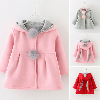 Baby Girls Hooded Coat Jacket Kids Rabbit Ear Hoodies Winter Warm Outwear Outfit