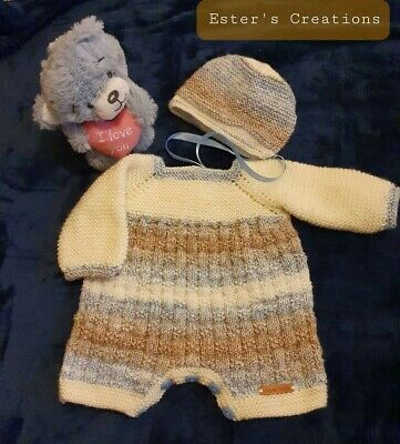 Baby Hand Knitted romper outfit, size 0/3 months, brand new, READY FOR DELIVERY