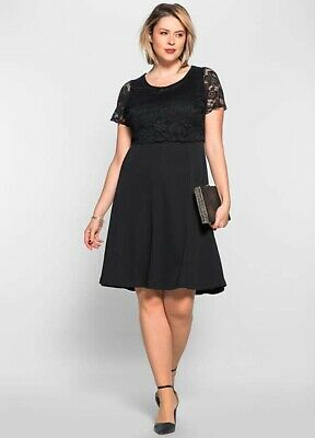 Anna Scholz For Sheego Black Lace Bodice Dress Uk 18 Bnwt