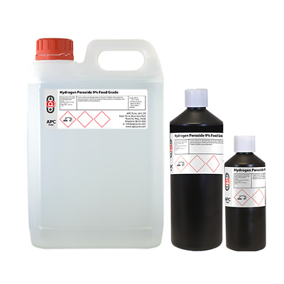 Hydrogen Peroxide 9% Food Grade Choose: 500ml, 1L or 5L **Free Postage**