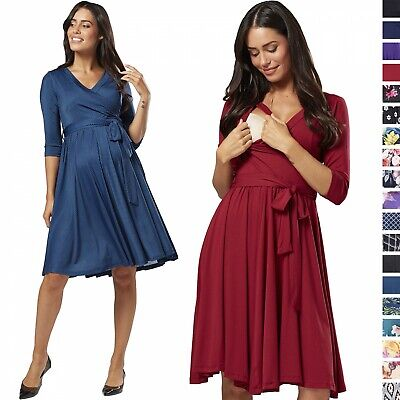 Happy Mama. Women's Maternity Nursing Midi Dress Double Layer 3/4 Sleeve 609p