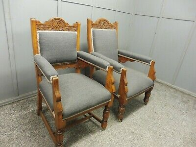 Pair Of Good Quality Antique Victorian  Armchairs Circa 1890