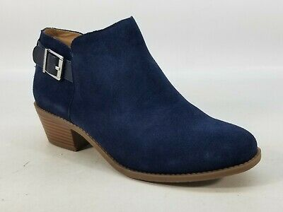 Vionic Orthotic Suede Ankle Boots with Buckle - Millie - Navy