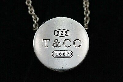 Authentic Tiffany & Co. Sterling Silver Circle Slide Pendant Necklace Retired