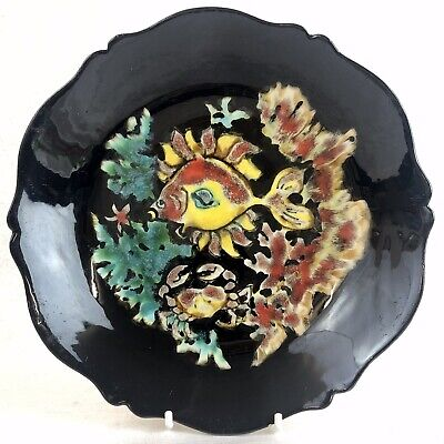 Quimper Youen Faience Plate Fish Sealife Hand Painted Mid Century Vintage