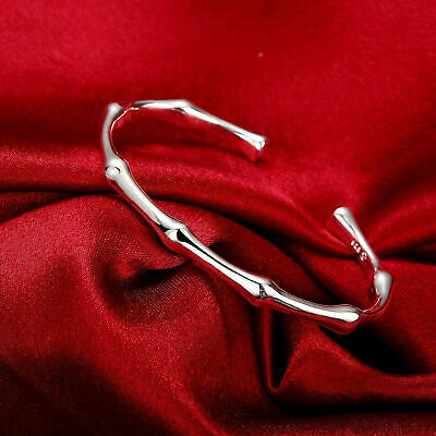 Trendy Women Hot 925 Sterling Silver Bangle Bamboo Joint Opening Cuff Bracelet