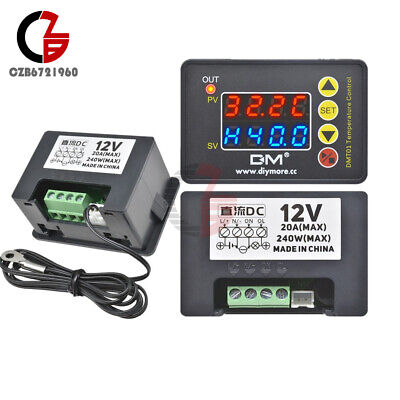 DC12V Red Blue LED Display Temperature Controller Thermostat Switch With Sensor