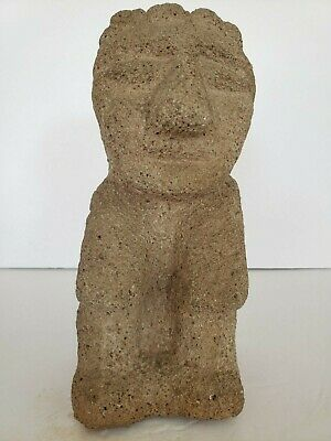 Authentic Pre-Columbian Lava Stone Carving of Human Figure