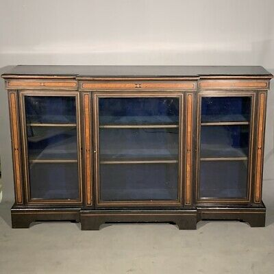 Antique Victorian ebonised breakfront credenza bookcase
