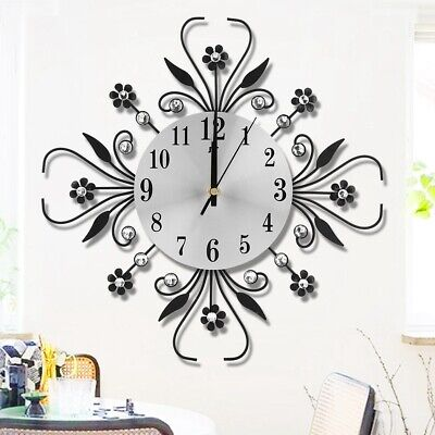 DIY Extra Large Luxury Flower-Shaped Wall Hanging Clock Home Decor Gifts NEW