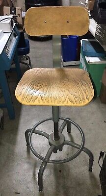 Vintage Industrial Ajusto Stool Steel Wood