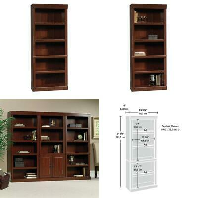 Library Bookcase Door Classic Cherry Finish Home Office Furniture Open Storage