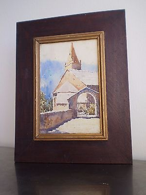 Drawing Antique Watercolour Eglise Framed Window Deco Village France Church
