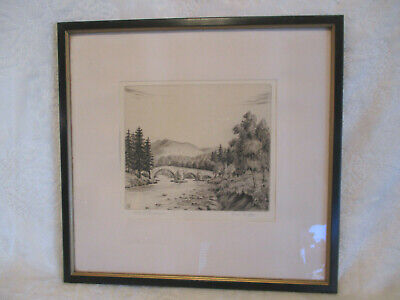 Collectible~Bridge of Invercauld~Scotland~Original Drypoint~Signed~Framed/Matted