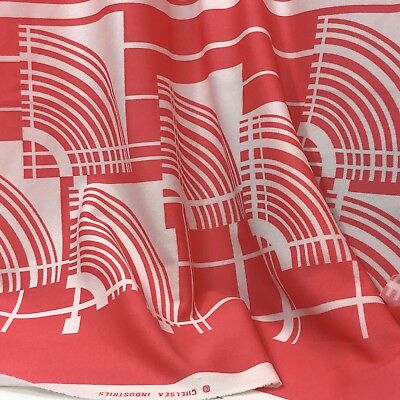 Vintage Border Print Fabric Mod Pink Coral White Stripe Geometric Poly 2 Yards
