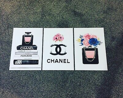 Set Of 3 Coco Chanel Prints Wall Art Fashion Home Decor