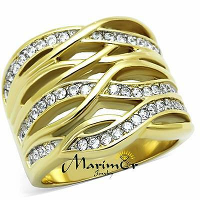 Stainless Steel 316L 14K Gold Ion Plated Zirconia Cocktail Ring Women Sizes 5-10
