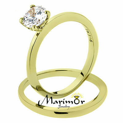 Stainless Steel .85 Ct Cz 14K Gold Ion Plated Wedding Ring Set Women's Size 5-10