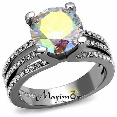 4.41Ct Stunning Cubic Zirconia Stainless Steel Engagement Ring Women's Size 5-10