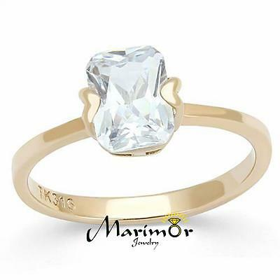 Womens 1.74Ct Emerald Cut Solitaire Cz Rose Gold Stainless Steel Engagement Ring