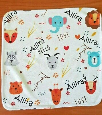 Personalised Baby Animals washcloths Face Washer Towel, Baby shower gift ideas