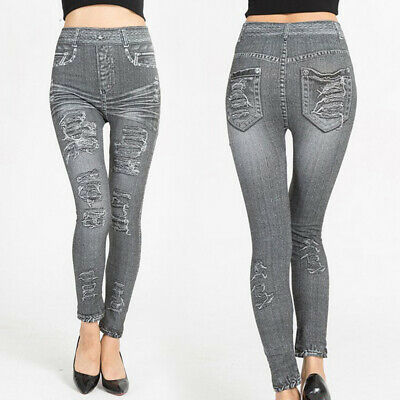 Women's Sexy Skinny Denim Pants Stretch Slim Fit Elastic Jeans Ripped Trousers
