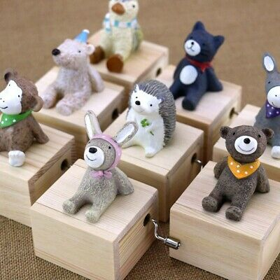 Home Decor Cute Mini Animal Hand Cranked Music Boxes Creative Gift Wooden TxFEs