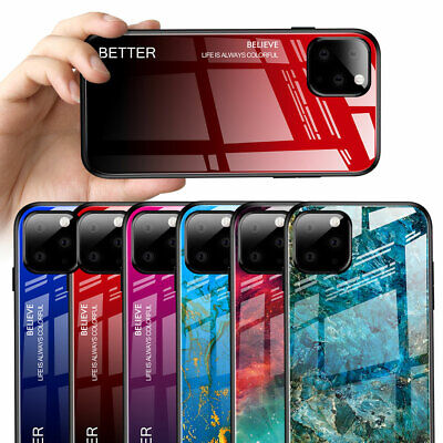 Hybrid Gradient Marble Tempered Glass Hard Case for iPhone 11 Pro Max XR X Cover