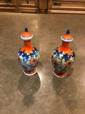 Pair Of Japanese Kinkozan Art Deco Style Pottery Vases With Lids