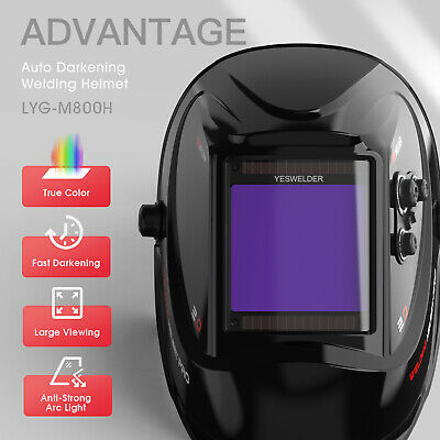 Large View 100x93mm True Color Auto Darkening Welding Helmet for WELD/CUT/GRIND