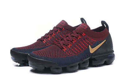 NIKE Men's Air Vapormax Flyknit 2 Running Shoes, Black and Red