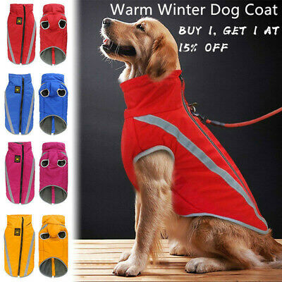 Waterproof Warm Winter Dog Coat Clothe Padded Vest Pet Jacket Large/ Medium UK